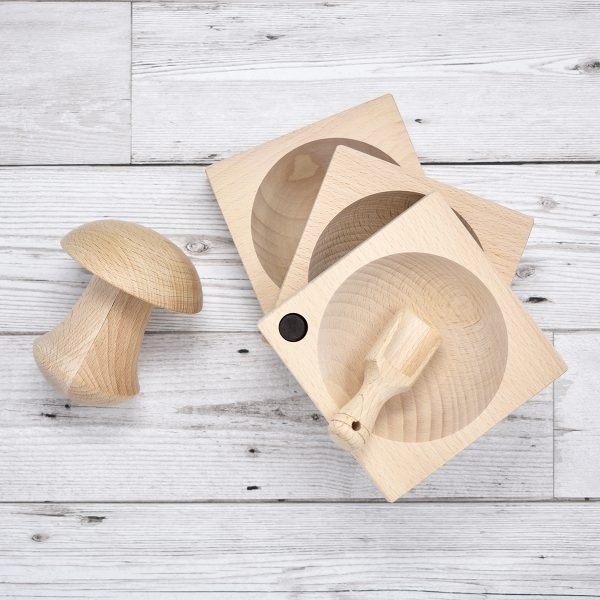 Nether Wallop Trading Co Beech wood Grinder & Q Bowl Herb Set
