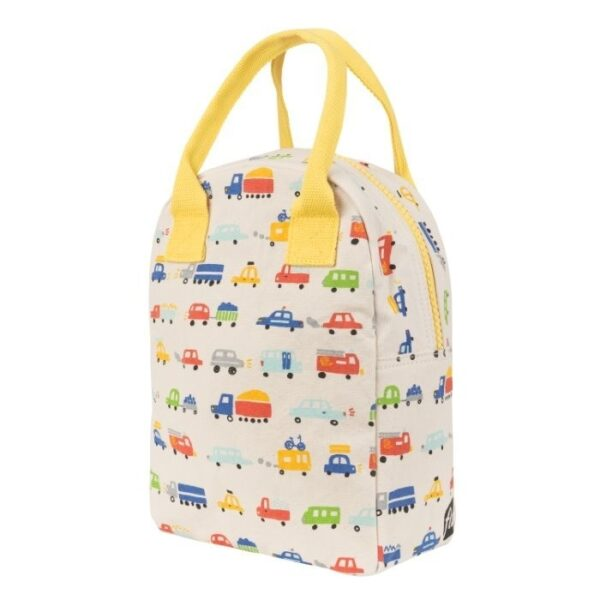 Fluf Car Print Lunch Bag Side View With Zip