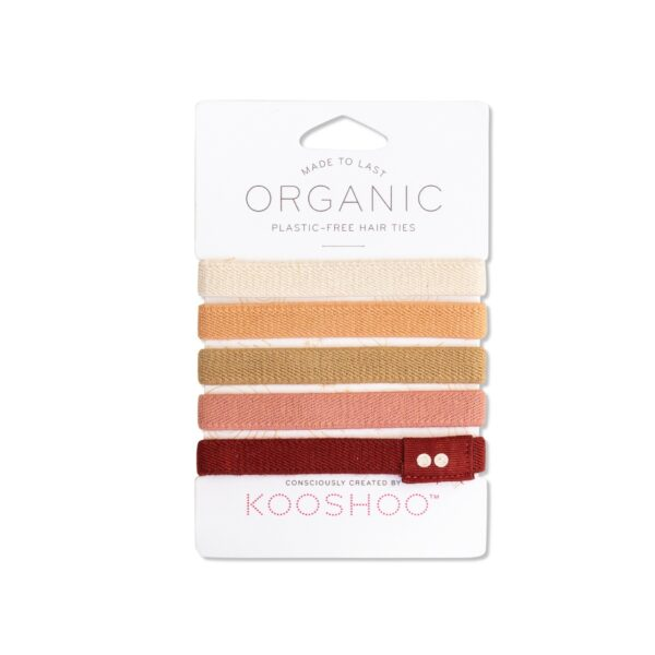 KooShoo Set of 5 Organic Cotton Ginger And Blush Coloured Hair Ties