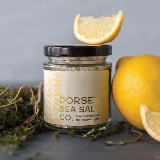 Lemon & Thyme Dorset Sea Salt Flakes jar with chopped lemons