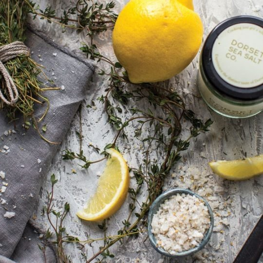 Lemon & Thyme Dorset Sea Salt Flakes mixed with fresh lemon