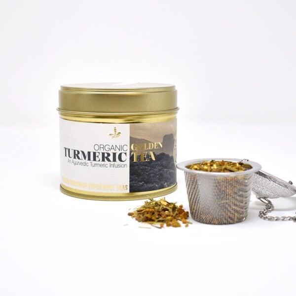 Wunder Workshop Organic Golden Turmeric Tea with tea infuser basket