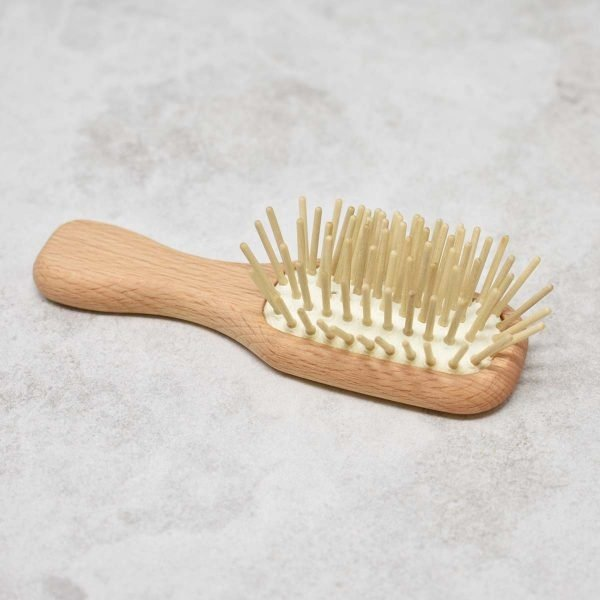 Eco Living Mini Wooden Hair Brush Side View