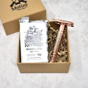 Mutiny Rose Gold Double Edge Safety Razor With Aloe Vera Shaving Soap Gift Set