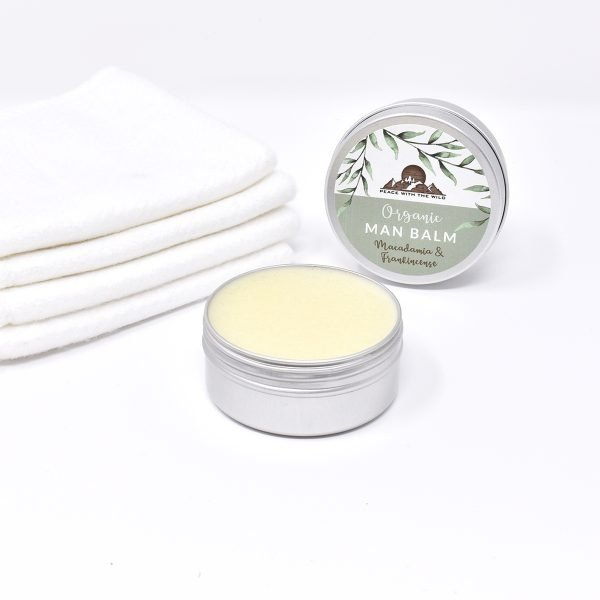 Peace With The Wild Organic Macadamia & Frankincense Man Balm With Cloth Facial Wipes