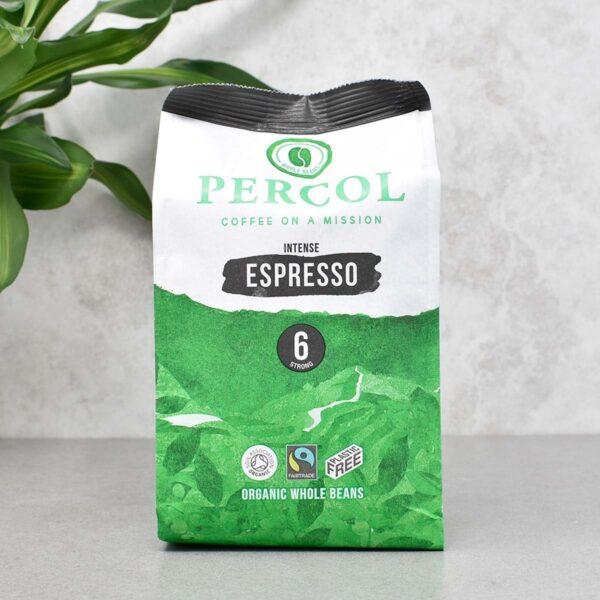 Percol Fairtrade Organic Espresso Plastic Free Whole Coffee Beans