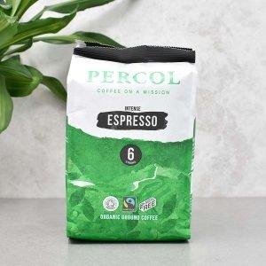 Percol Fairtrade Organic Espresso Plastic Free Ground Coffee