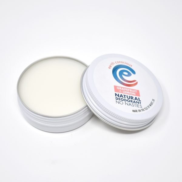 Earth Conscious Grapefruit & Lemon Natural Deodorant Tin Open