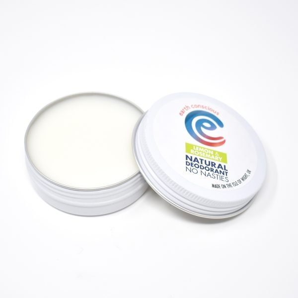 Earth Conscious Lemon & Rosemary Natural Deodorant Tin Open