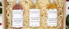 Set of three Flawless luxury body washes in a straw gift box