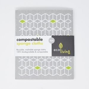 eco living, Compostable Sponge Cleaning Cloths, cleaning cloths, et of compostable sponge cleaning cloths, et of sponge cleaning cloths, reusable, natural, plastic-free, bio-degradable, vegan friendly,