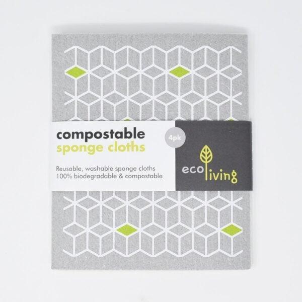 eco living, Compostable Sponge Cleaning Cloths, cleaning cloths, et of compostable sponge cleaning cloths, et of sponge cleaning cloths, reusable, natural, plastic-free, bio-degradable, vegan friendly,
