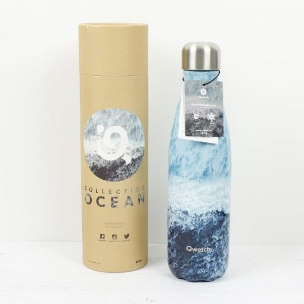 Qwetch Ocean Lover Stainless Steel Water Bottle And Packaging