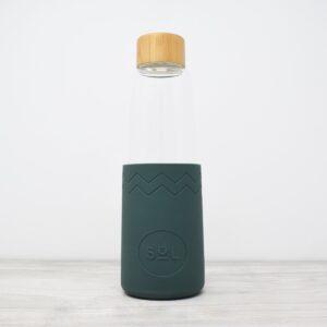 Sol Deep Sea Green Glass Water Bottle