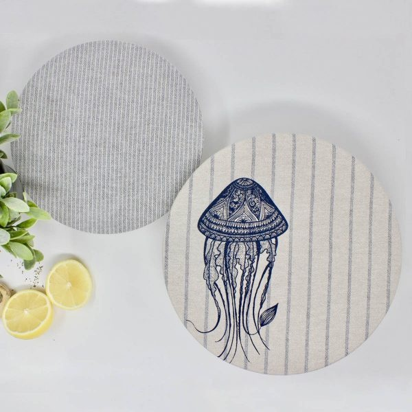 Your Green Kitchen Set of 2 Jellyfish & Striped Bowl Covers