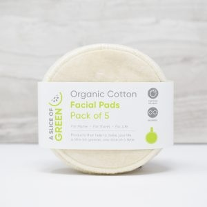 A Slice of Green Organic Cotton Facial Pads in Packaging