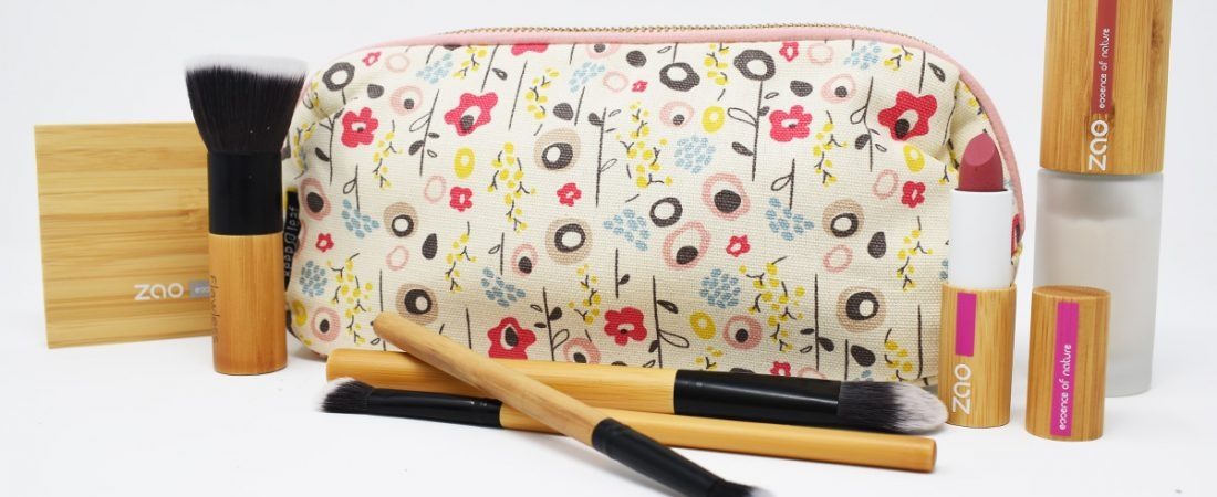 Keep Leaf Bloom Print Organic Cotton Make Up Bag With Makeup & Brushes