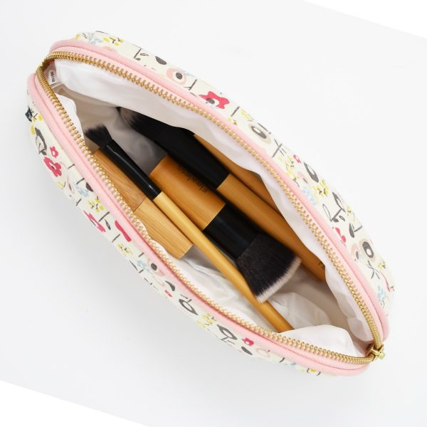 Keep Leaf Bloom Print Organic Cotton Make Up Bag Inside View With Makeup Brushes