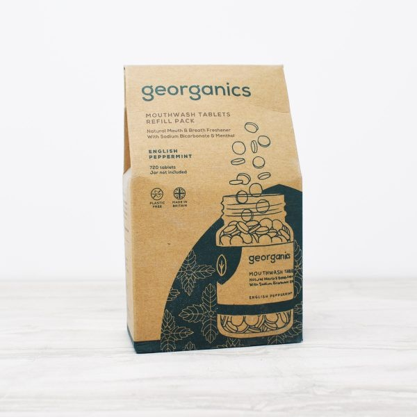 Georganics mouthwash tablets refill, peppermint, dental care, dental hygiene, vegan friendly, mouthwash tablets,