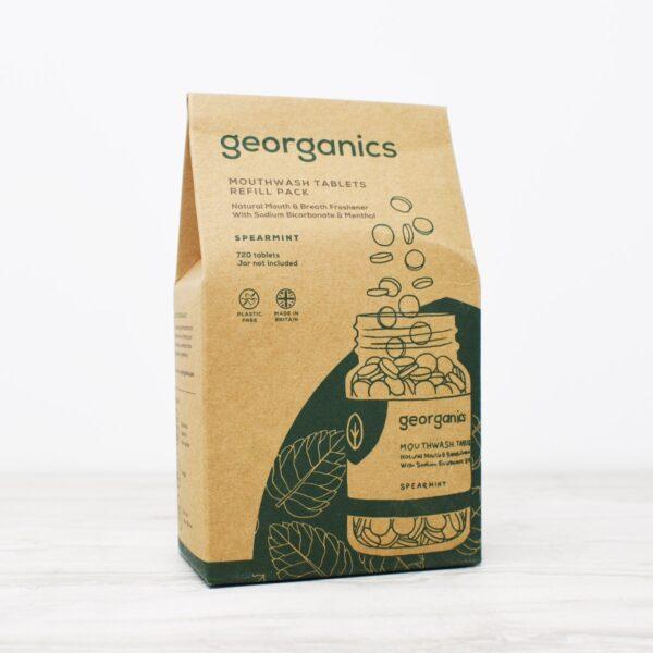 Georganics mouthwash tablets refill, spearmint, dental care, dental hygiene, vegan friendly, mouthwash tablets,