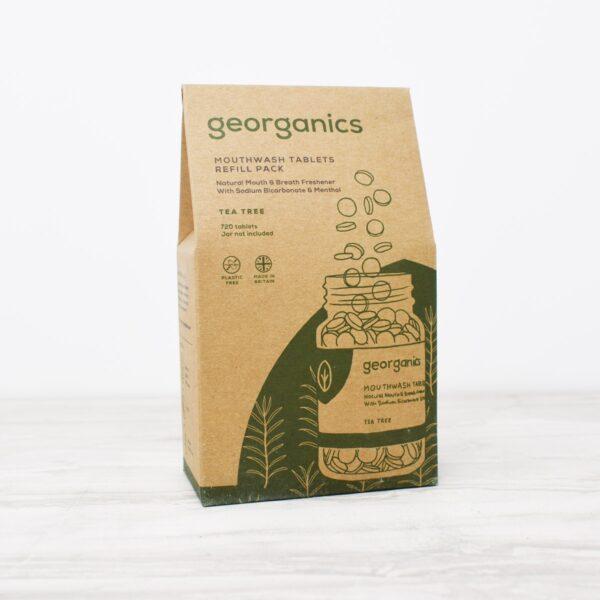 Georganics mouthwash tablets refill, tea tree, dental care, dental hygiene, vegan friendly, mouthwash tablets,
