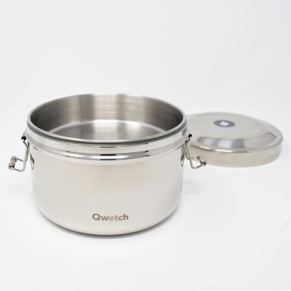 Qwetch Insulated Stainless Steel Bento Box With Lid Open