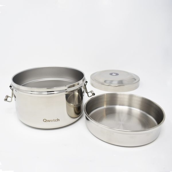Qwetch Insulated Stainless Steel Bento Box Open With Separate Compartment Removed