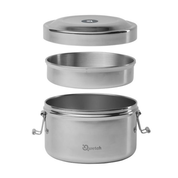 2 Tier Qwetch Insulated Stainless Steel Bento Box With 2 Separate Compartments On Display