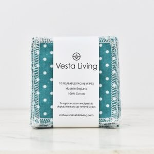 Vesta Living Mint Green Polka Dot Reusable Facial Rounds