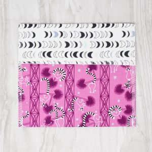 Marley's Monsters Reusable Cotton Snack Bag With Pink Lemur Print