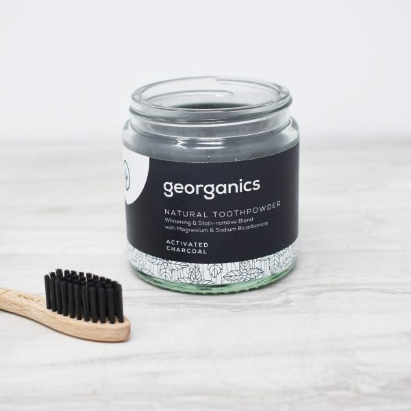 Georganics Toothpowder , dental care, dental hygiene, vegan friendly, toothpowder, whitening toothpowder, toothpowder jar open, charcoal,