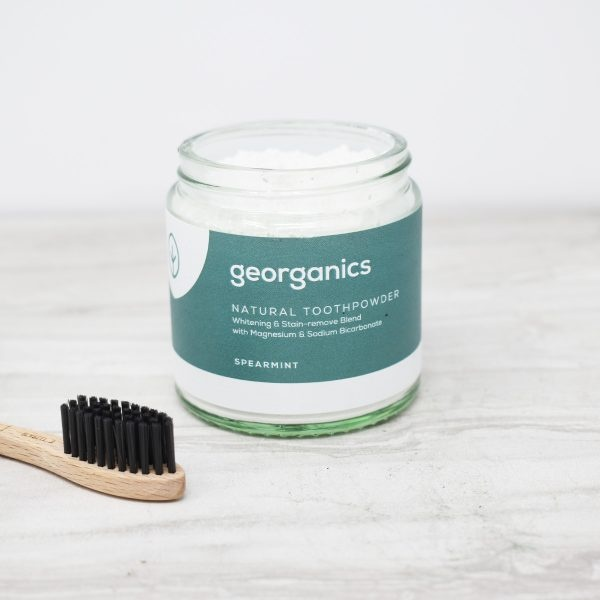 Georganics Toothpowder , dental care, dental hygiene, vegan friendly, toothpowder, whitening toothpowder, toothpowder jar open, spearmint,