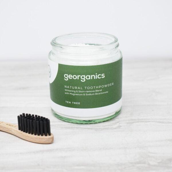 Georganics Toothpowder , dental care, dental hygiene, vegan friendly, toothpowder, whitening toothpowder, toothpowder jar open, tea tree,