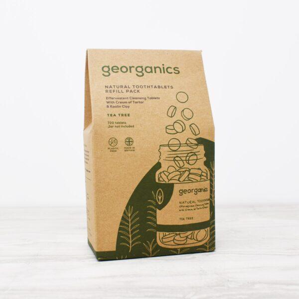 Georganics Toothpaste Tablet refills , dental care, dental hygiene, vegan friendly, toothtablets, travel essentials, tea tree, refill,