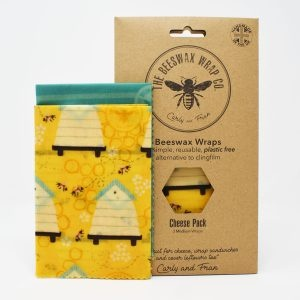 The Beeswax Wrap Co Beehive Print Beeswax Wraps Cheese Pack