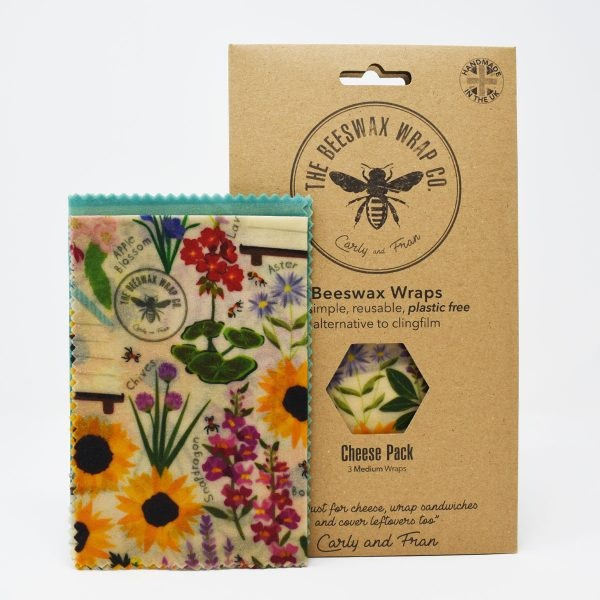 The Beeswax Wrap Co Beehive Print Beeswax Wraps Cheese Pack Floral Print