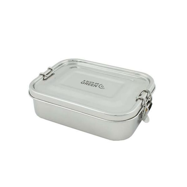 A Slice of Green Rectangle Leak Resistant Stainless Steel Lunch Box With Lid Closed