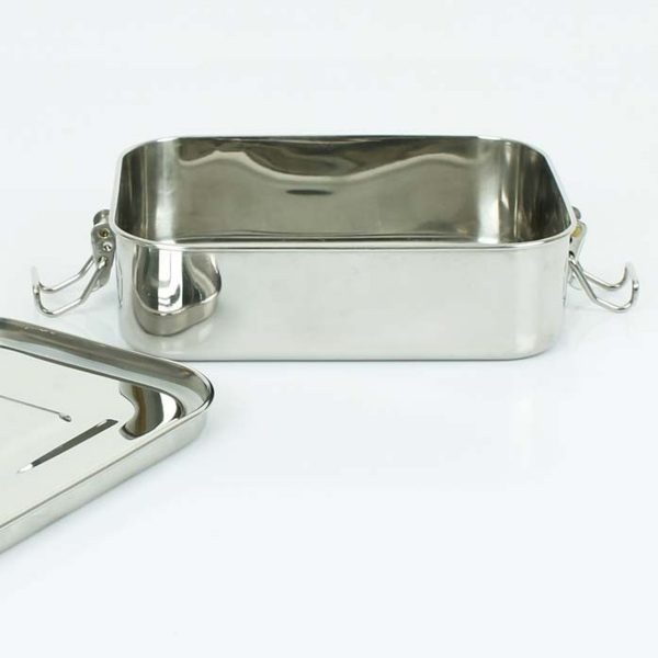 A Slice of Green Rectangle Leak Resistant Stainless Steel Lunch Box With Lid Open
