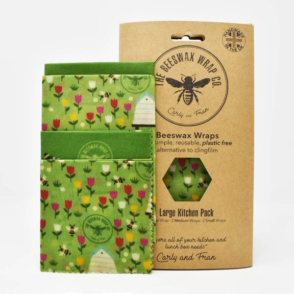 The Beeswax Wrap Co Land Print Beeswax Wraps Large Kitchen Pack