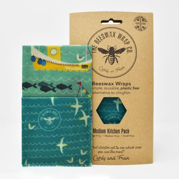 The Beeswax Wrap Co Beeswax Wraps Medium Kitchen Pack Sea Print