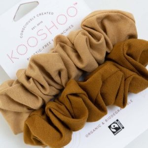 KooShoo Set of 2 Organic Cotton Gold And Sand Coloured Hair Scrunchies