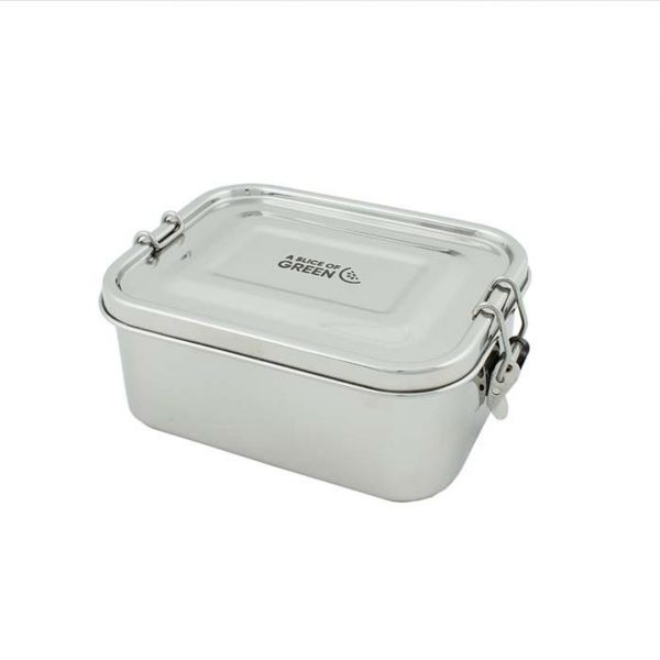 A Slice of Green Deep Rectangle Leak Resistant Stainless Steel Lunch Box With Lid Closed