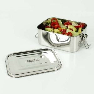 A Slice of Green Deep Rectangle Leak Resistant Stainless Steel Lunch Box