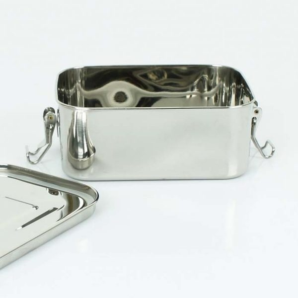 A Slice of Green Deep Rectangle Leak Resistant Stainless Steel Lunch Box With Lid Open