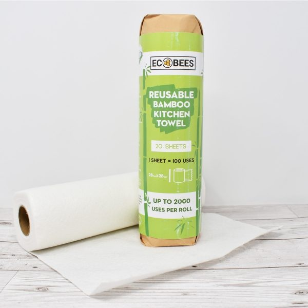 EcoBees, eco bees, kitchen roll, reusable kitchen roll, reusable, paper towel, anti bacterial, multi purpose towels, bamboo kitchen towels, machine washable, environmentally friendly, vegan-friendly, natural, plastic-free, bio-degradable,