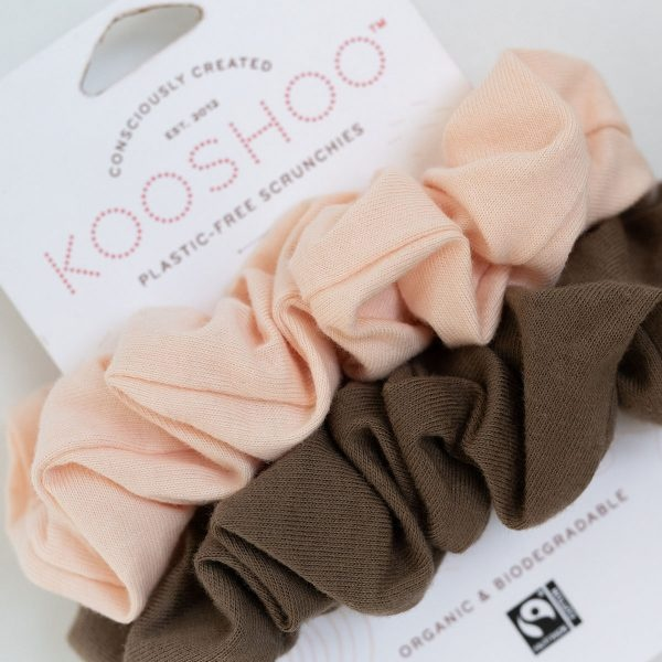 KooShoo Set of 2 Organic Cotton Blush And Walnut Coloured Hair Scrunchies