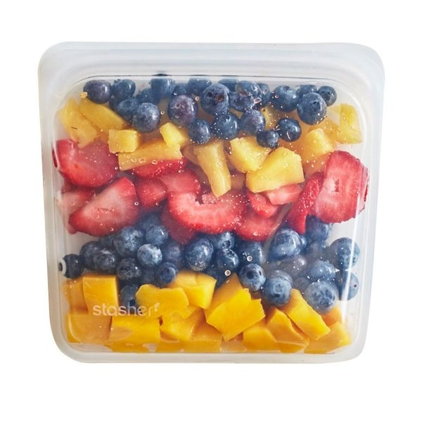 Stasher Clear Silicone Sandwich Bag Full Of Fruit