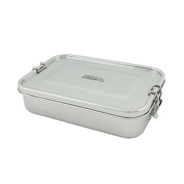 A Slice of Green Large Rectangle Leak Resistant Stainless Steel Lunch Box With Lid Closed