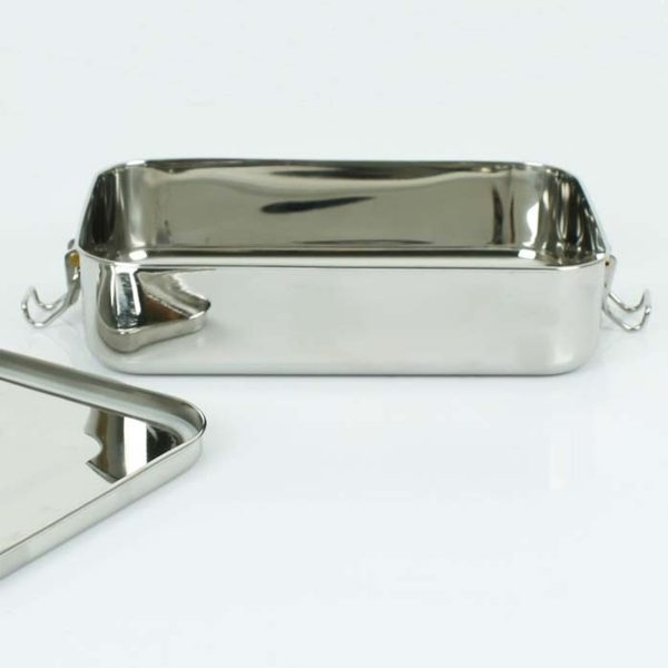 A Slice of Green Large Rectangle Leak Resistant Stainless Steel Lunch Box With Lid Open