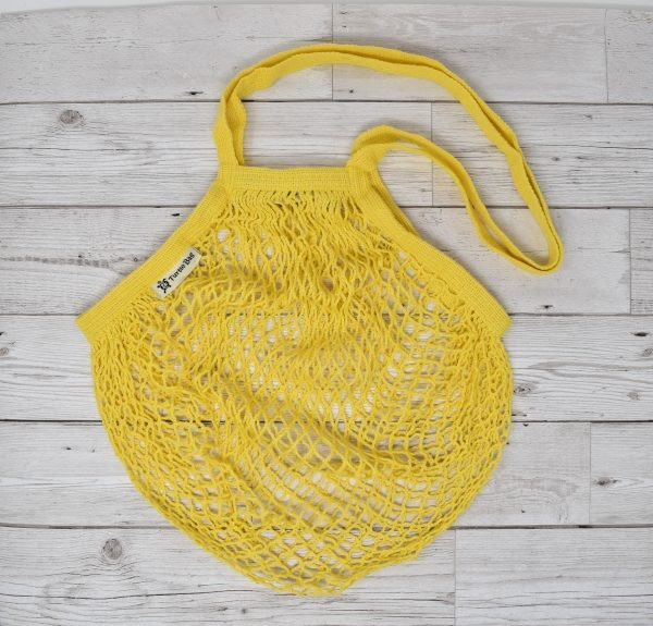Turtle Bags Yellow Long Handle Organic Cotton String Bag
